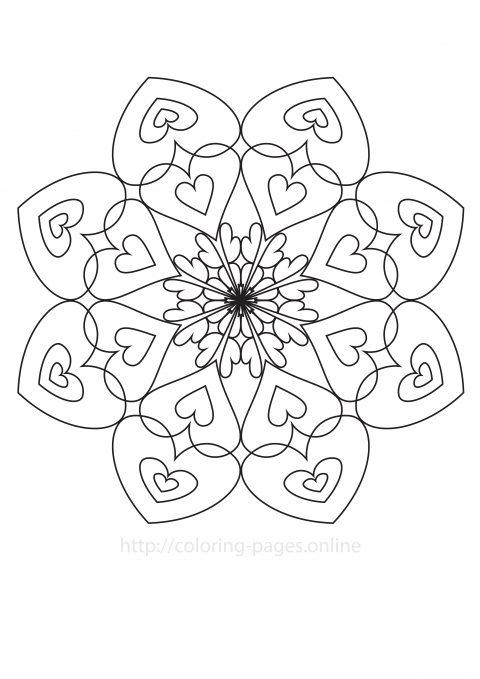 Love mandala printable coloring page