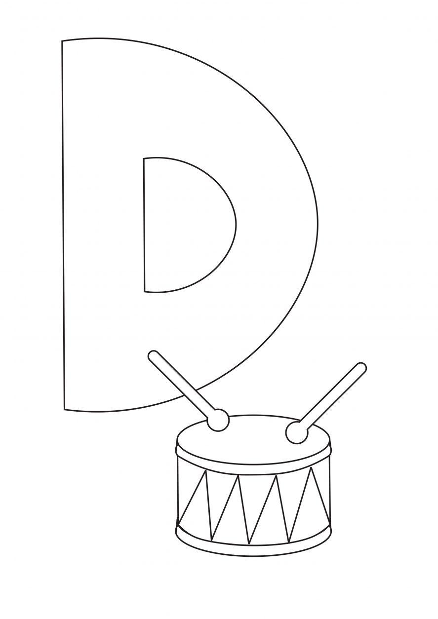 Letter d coloring page