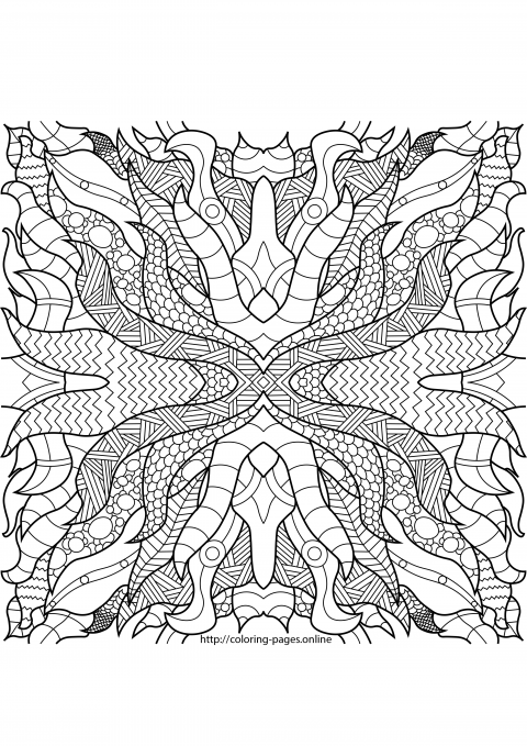 Hard complex pattern coloring page