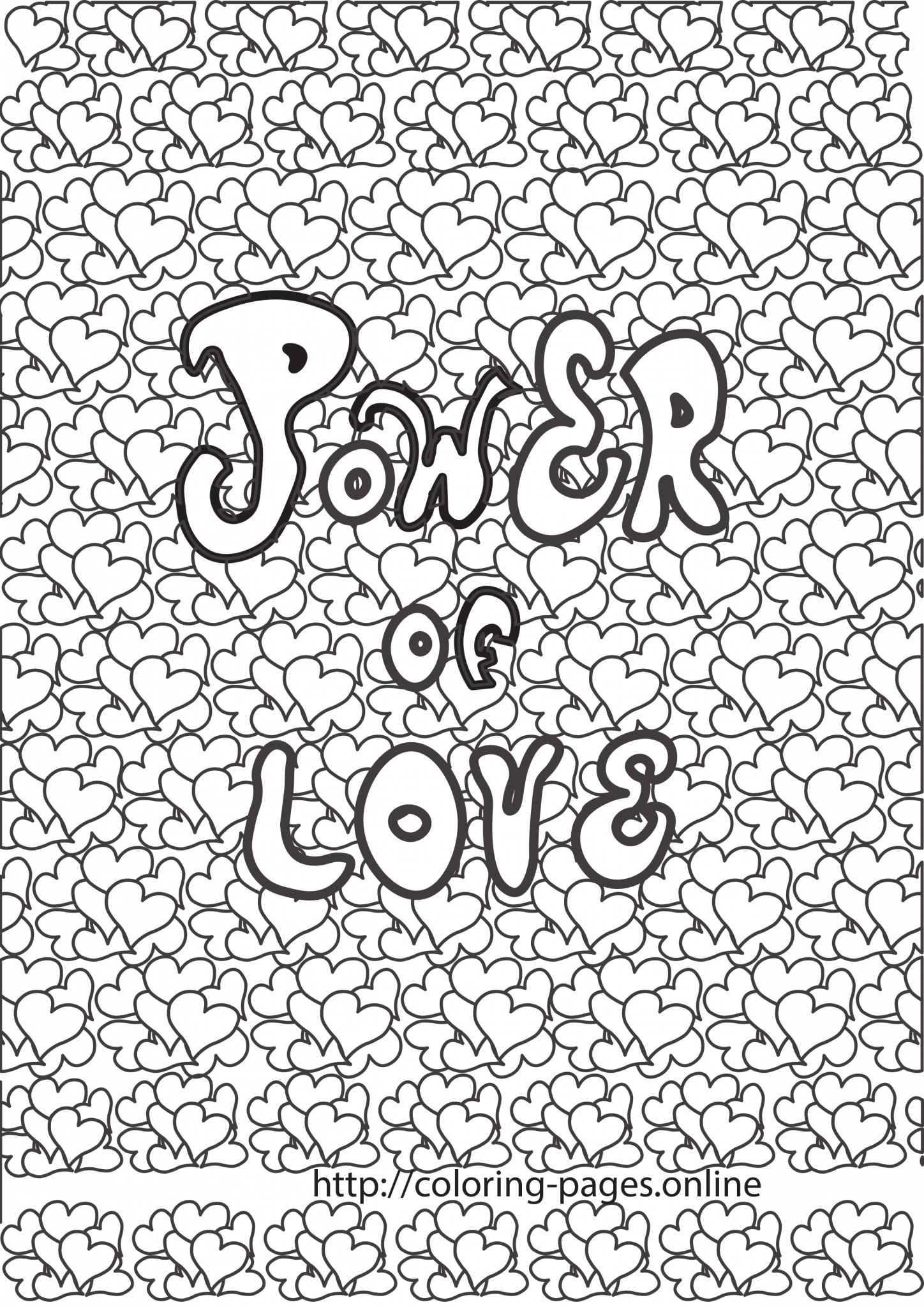 Power of love coloring page