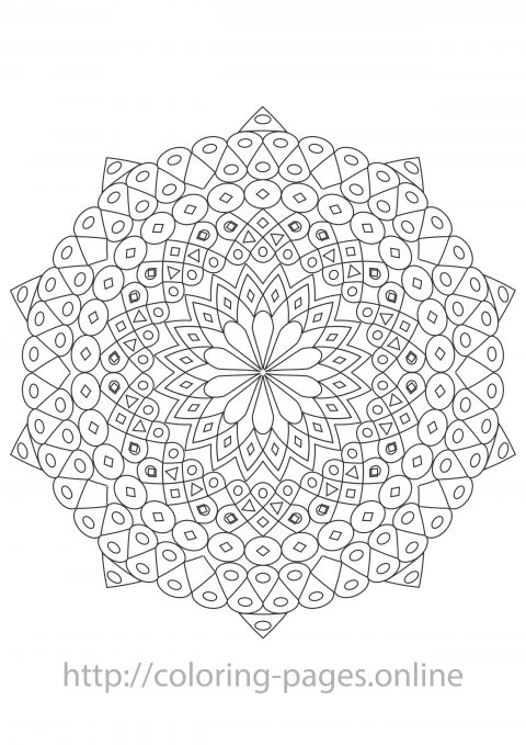 Complex mandala coloring page
