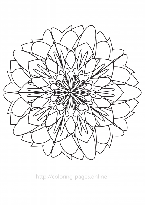 Poeny mandala coloring page