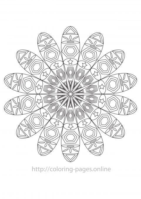 Star mandala coloring page