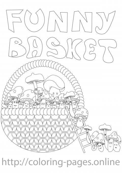 Funny basket coloring page
