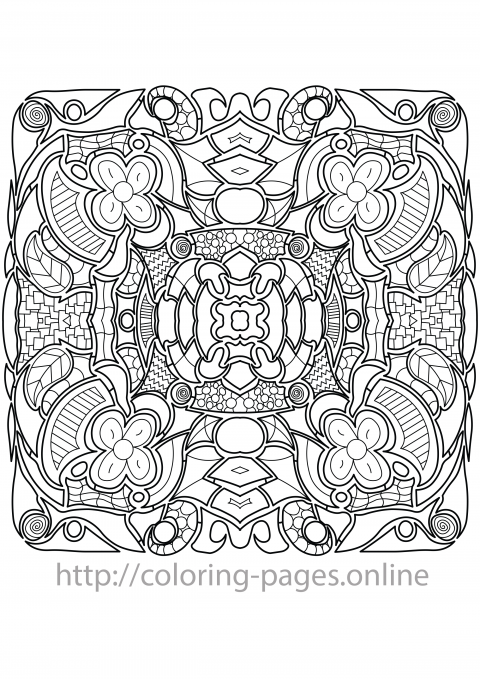Flower and leaf pattern coloring page