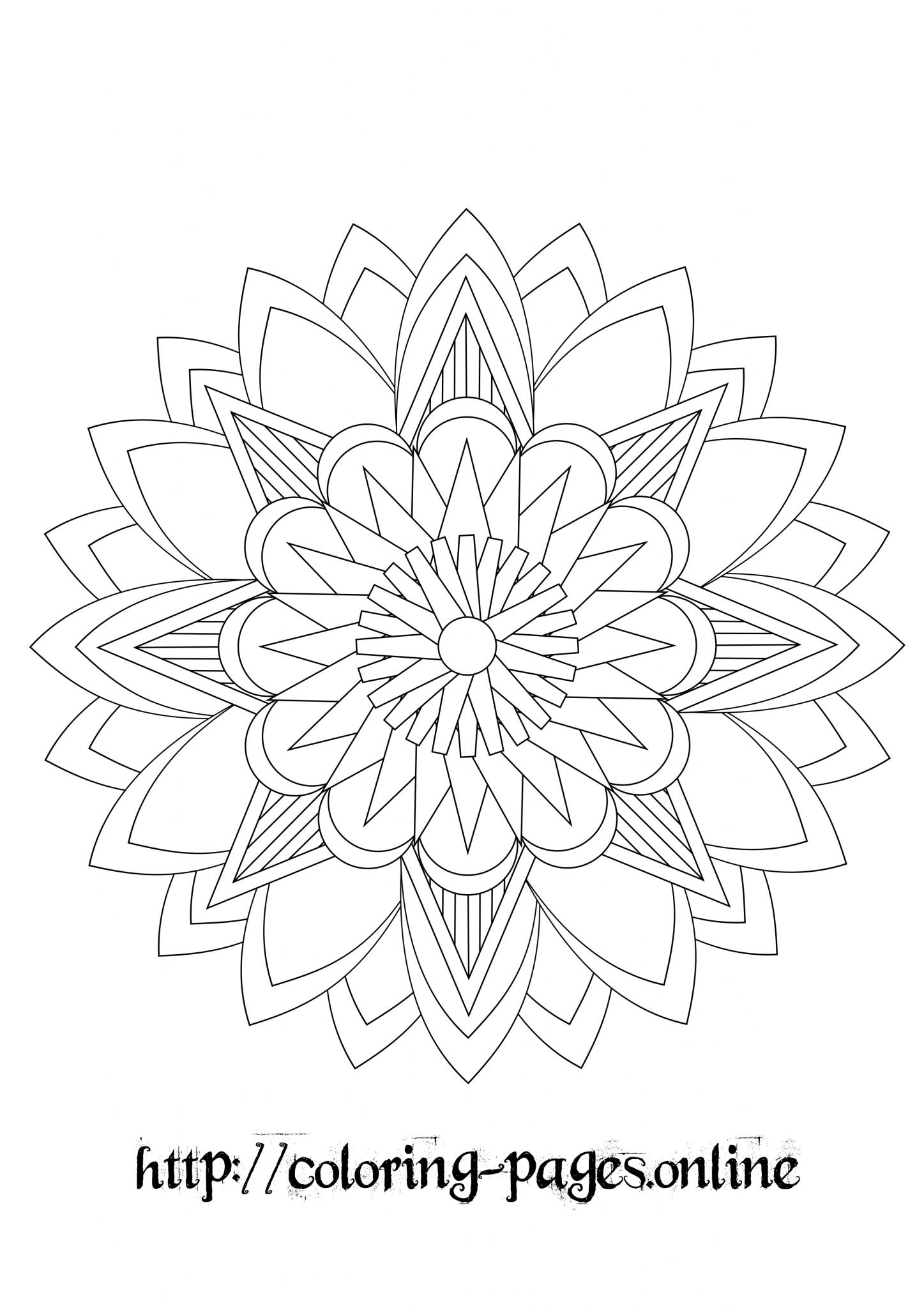 Pointed mandala coloring page