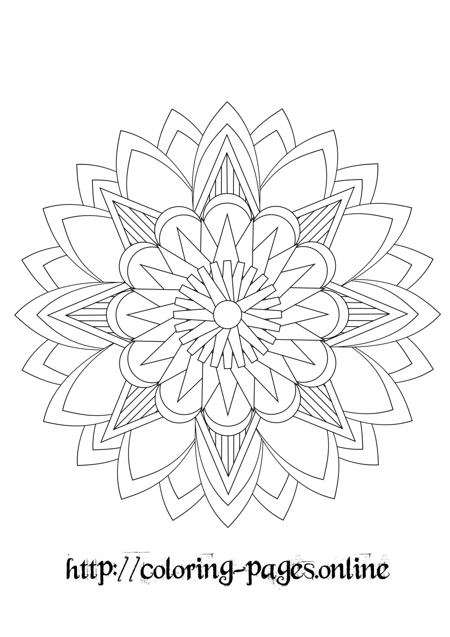 Pointed mandala coloring page