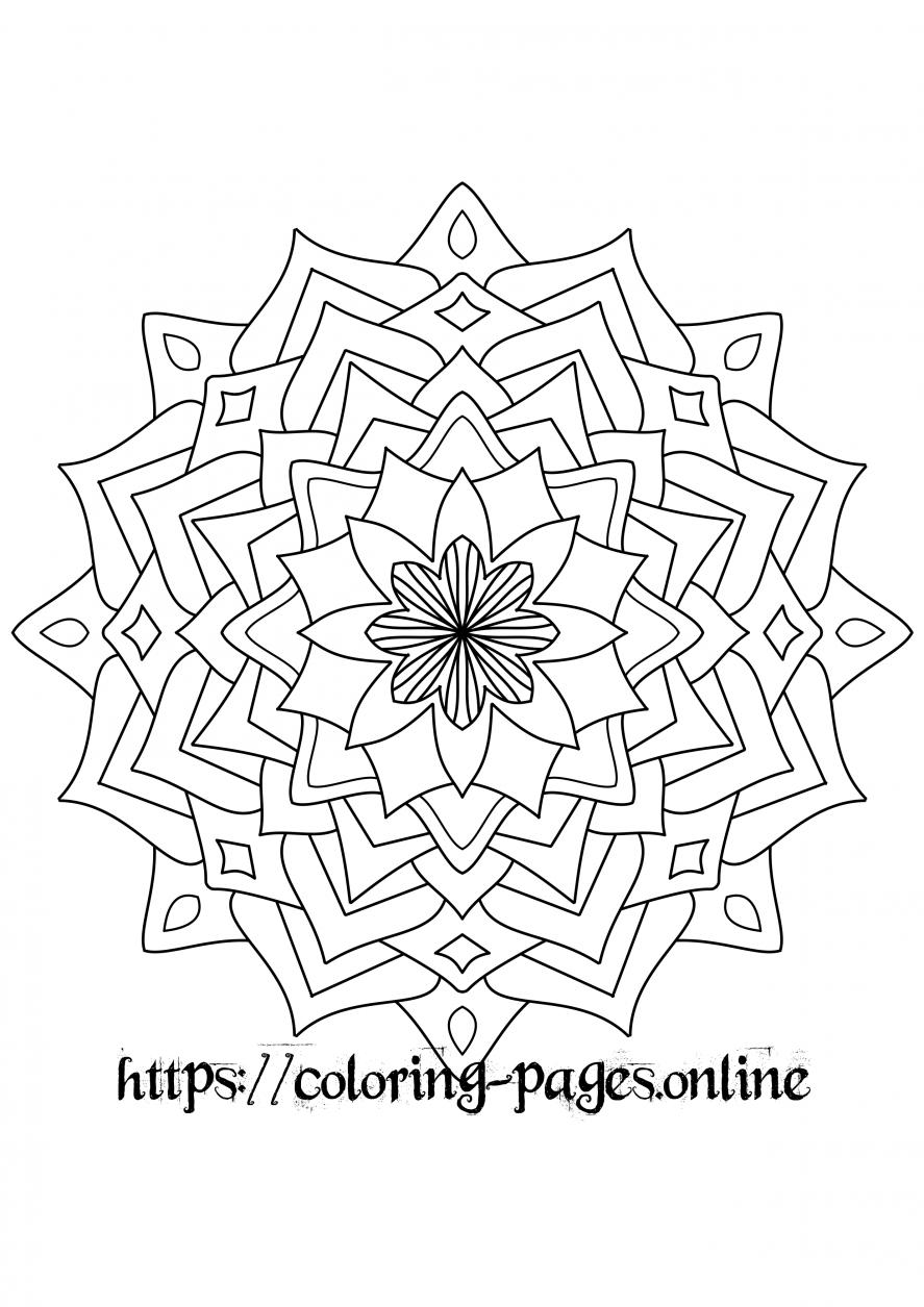 leavile mandala coloring page
