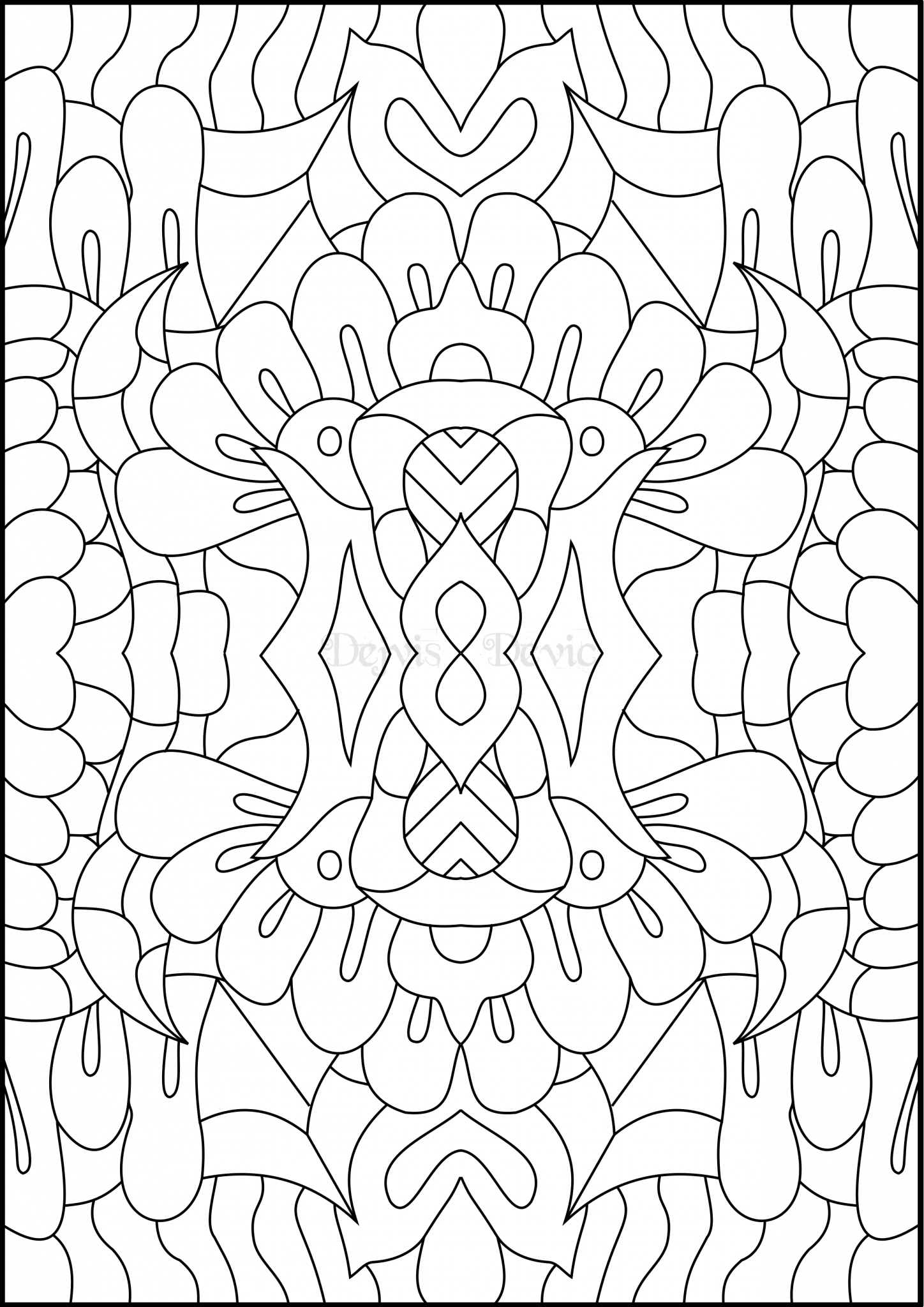 Medial pattern printable coloring page