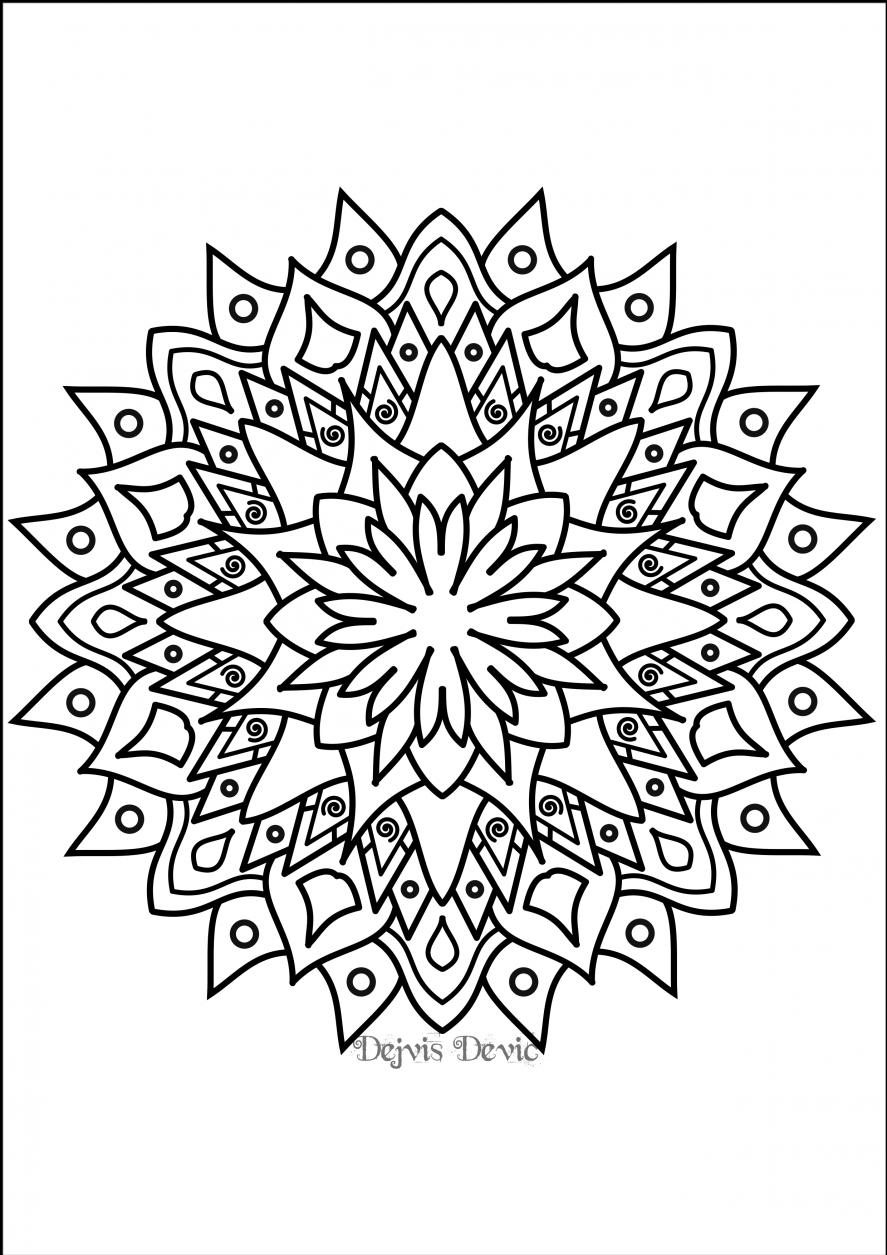 Swirly mandala coloring page