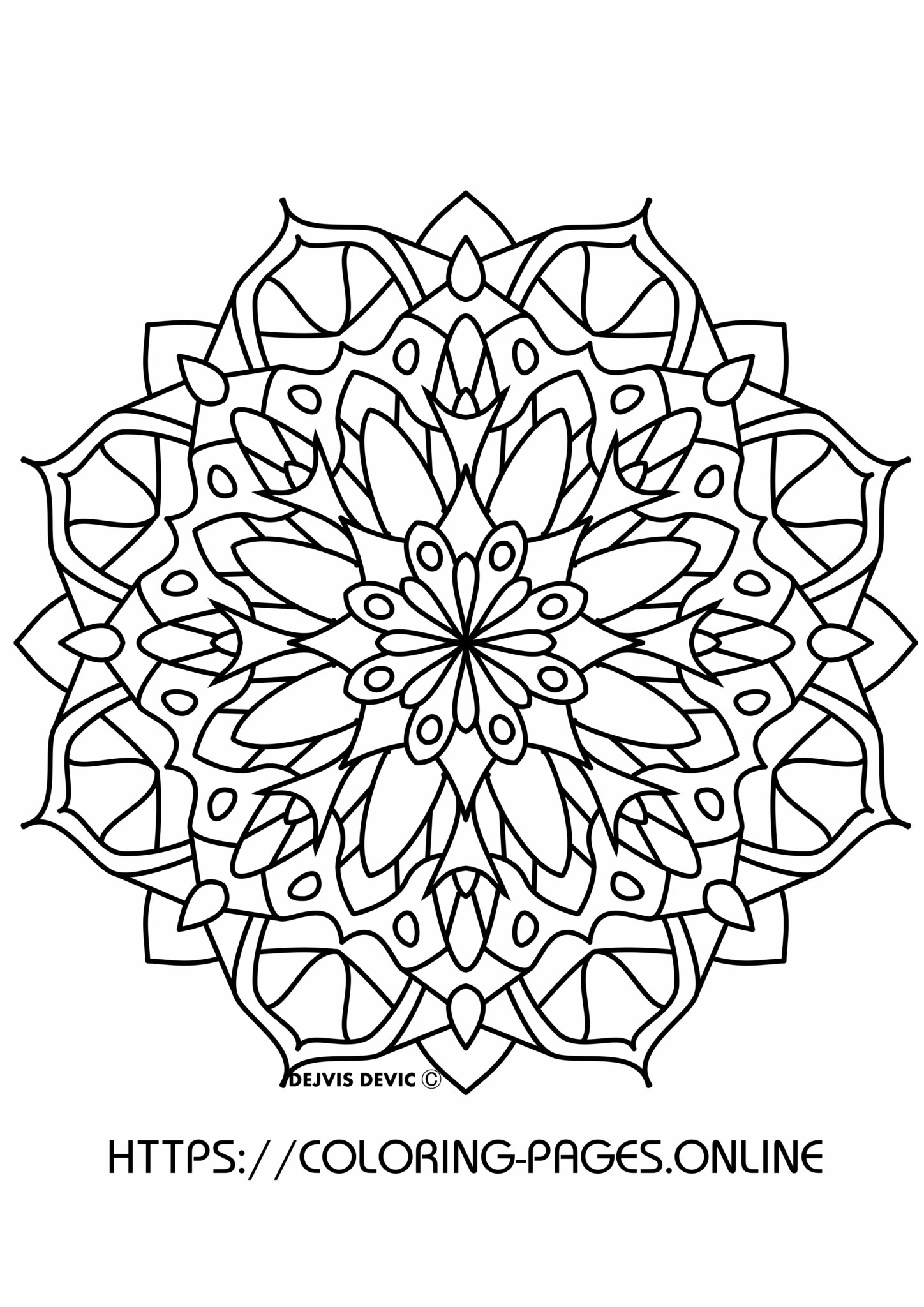 Retro mandala coloring page